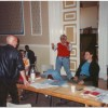 The great Russian director Yuri Lyubimov demonstrates a point to Andrew Jarvis during rehearsals of Hamlet Leicester 1989. He told a story of Henry Kissinger giving th
