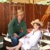 Trying out hats with Kate St Johns daughter Esther in our Hollywood home. 2006